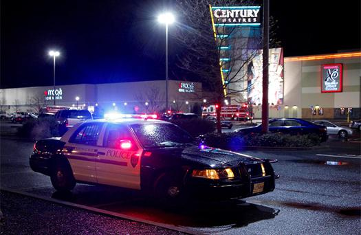 Police and emergency vehicles surround the Clackamas Town Center shopping mall in Portland, Oregon. Photo: Reuters