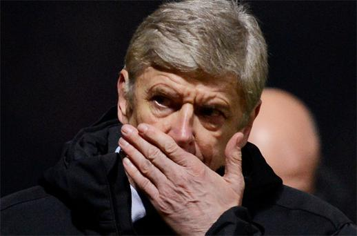 Arsenal manager Arsene Wenger reacts during their English League Cup defeat at Bradford. Photo: Reuters