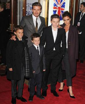 David and Victoria Beckham with their children
