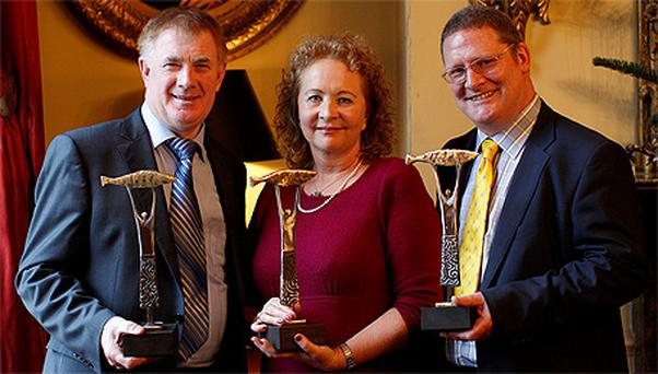 Left - right: John Concannon from Pieta House (National Philanthropist of the Year), Mairead Sorensen from Butlers Choclates (International Philantropist) and Paul Ryan from Chair Vodafone Ireland (Corporate Philanthropist)