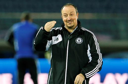 Chelsea interim coach Benitez takes part in official training session for the Club World Cup soccer tournament in Yokohama, south of Tokyo