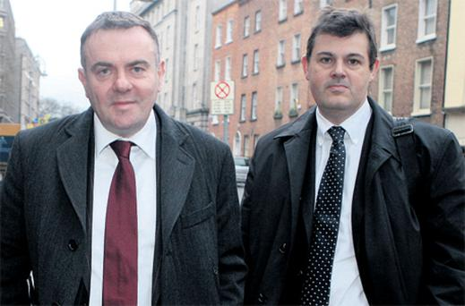 RTE director general Noel Curran, left, with the station's head of news Kevin Bakhurst and, right, Rob Morrison, the former head of news at UTV with RTE's director of programmes Steve Carson at Leinster House