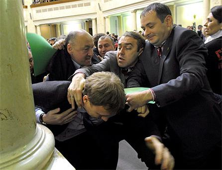 Scuffles broke out at the first session of newly-elected Ukrainian parliament in Kiev