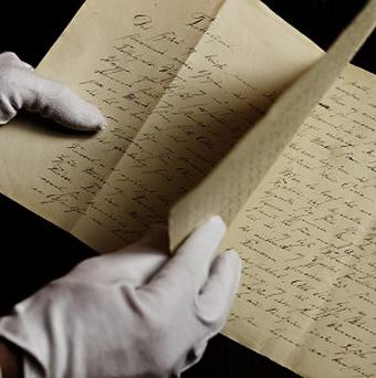 A newly found manuscript which is thought to be a fairy tale by Hans Christian Andersen (AP)