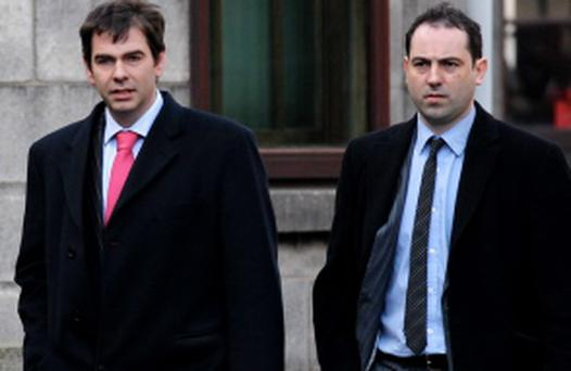 QUINN; ( SEAN Jnr); SON of BANKRUPT BUSINESSMAN re CONTEMPT PROCEEDINGS BY THE FORMER ANGLO IRISH BANK (NOW the IBRC - IRISH BANK RESOLUTION CORPORATION) , HIGH COURT, DUBLIN, ( 13/12/12)****see Hi Ct story. PIC SHOWS: (ON LEFT), SEAN QUINN Jnr., SON of SEAN QUINN, BANKRUPT BUSINESSMAN-WITH , NIALL McPARTLAND, HIS BROTHER-IN-LAW- (ON RIGHT), LEAVING COURT YESTERDAY (THURS) AFTER THE HEARING. (PIC: COURTPIX.)