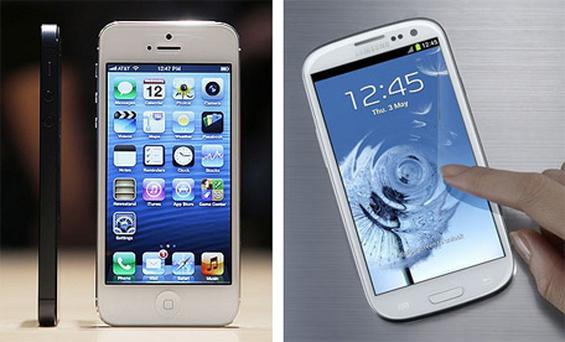 Difficult choice: Apple iPhone 5 (left) versus the Samsung Galaxy SIII