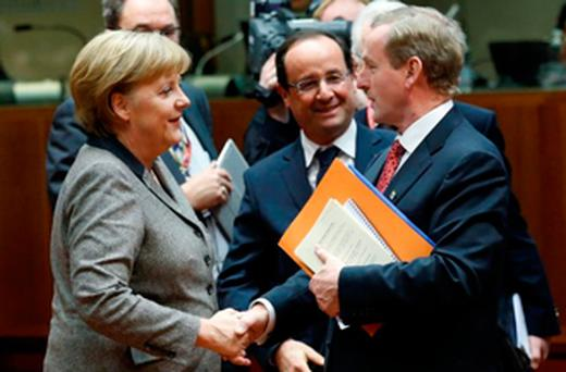 Angela Merkel, Francois Hollande and Enda Kenny at the EU leaders summit in Brussels.