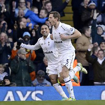 Jan Vertonghen, left, broke his Premier League duck as Spurs beat Swansea