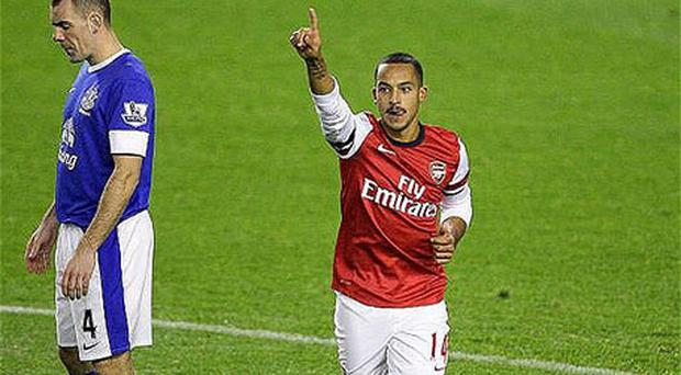 Take a bow: Theo Walcott has been prolific this season for Arsenal Photo: PA