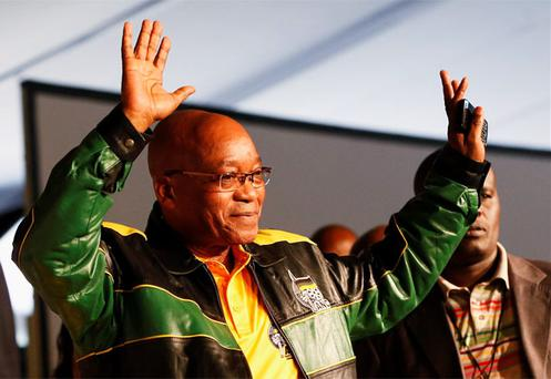 President Jacob Zuma waves upon arrival at the start of the 53rd National Conference of his ruling ANC in Bloemfontein. Photo: Reuters