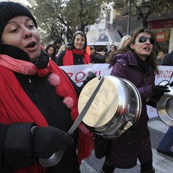 Greek municipal workers protest against austerity cuts (AP)