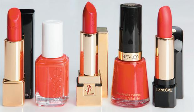 From left: Chanel Rouge Allure in Palpitante; Essie Nail Polish in Fifth Avenue; YSL Rouge Pur Couture in Rouge Eros; Revlon Nail Polish in Revlon Red; Lancome L'Absolu Rouge in Rouge Hypnose