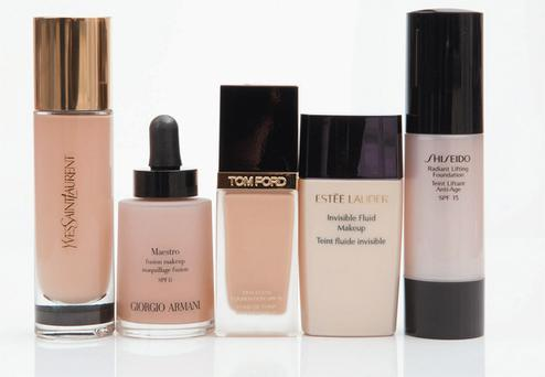 YSL Le Teint Touche Eclat; Giorgio Armani Maestro Fusion Makeup Complexion Perfector; Tom Ford Traceless Foundation; Estee Lauder Invisible Fluid Makeup; Shiseido Radiant Lifting Foundation