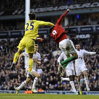 Michu was eventually fine after his collision with Hugo Lloris