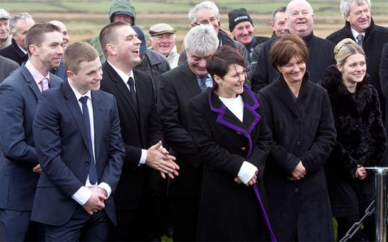 Members of Paidi O Se's family at the grave yard yesterday for the burial in Ventry Co Kerry