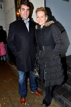 Gerry Scollan and Claire Byrne arrive at 'Snow White and The Adventures of Sammy Sausages' at the Tivoli. Photo: VIP Ireland