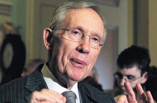 Senate majority leader Harry Reid, addressing the media on the 'fiscal cliff' on Capitol Hill yesterday, said House Speaker John Boehner's backup plan 'cannot pass both houses of Congress'