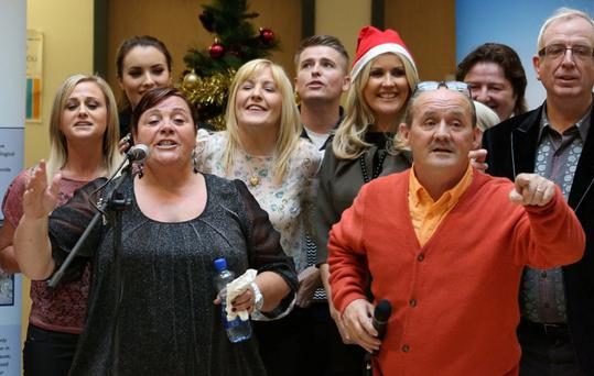 Mary Byrne, Brendan O'Carroll and other celebrities sings carols pictured at Our Lady's Hospital for Sick Children