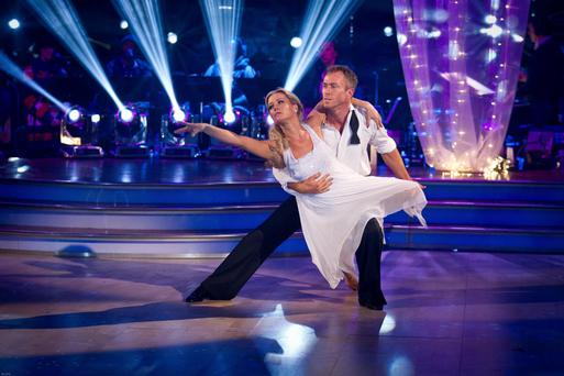 Embargoed to 2010 Saturday December 15For use in UK, Ireland or Benelux countries only. BBC handout photo of Denise Van Outen and James Jordan dancing during dress rehearsals for the BBC programme Strictly Come Dancing. PRESS ASSOCIATION Photo. Issue date: Saturday December 15, 2012. See PA story SHOWBIZ Strictly. Photo credit should read: Guy Levy/BBC/PA Wire NOTE TO EDITORS: Not for use more than 21 days after issue. You may use this picture without charge only for the purpose of publicising or reporting on current BBC programming, personnel or other BBC output or activity within 21 days of issue. Any use after that time MUST be cleared through BBC Picture Publicity. Please credit the image to the BBC and any named photographer or independent programme maker, as described in the caption.