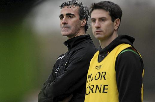 Donegal manager Jim McGuinness, left, with assistant manager Rory Gallagher. Photo: Sportsfile