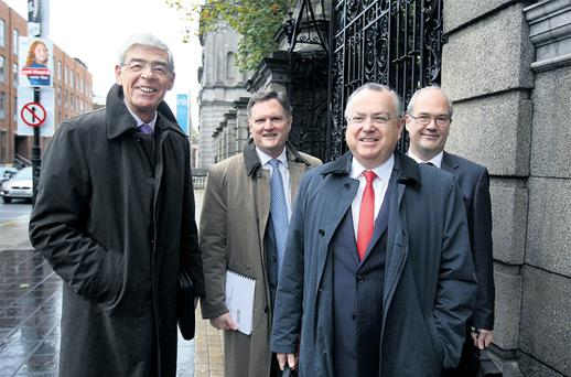 IBRC executives, from left, chairman Alan Dukes, chief financial officerJim Bradley, head of asset management Richard Woodhouse, and chief executive Mike Aynsley arriving for a recent Oireachtas Committee on Finance, Public Expenditure and Reform meeting at Leinster House