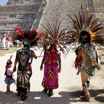 Mayans gather in front of the Kukulkan Pyramid in Chichen Itza, Mexico (AP/Israel Leal)