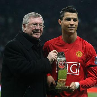 Sir Alex Ferguson, left, does not think Cristiano Ronaldo, right, would re-sign for Manchester United