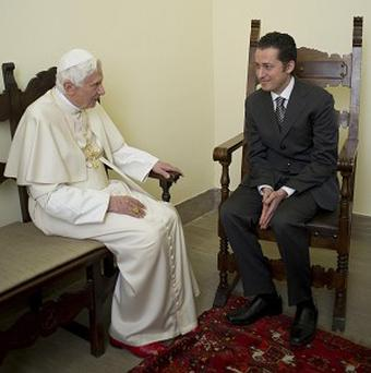 The Pope meets with his former butler Paolo Gabriele (AP)