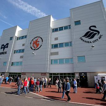 A flare was set off at the Liberty Stadium during Swansea's game against Manchester United