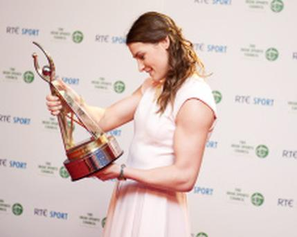 23/12/2012. Pictured is Katie Taylor who won sportsperson of the year award at the RTE Sports Awards 2012 at the RTE studios. Photo: El Keegan
