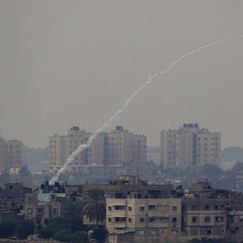 A rocket fired by Palestinian militants from the Gaza Strip towards Israel in November (AP)