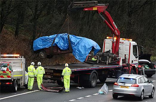 The scene on the M6 where three children died in a road accident