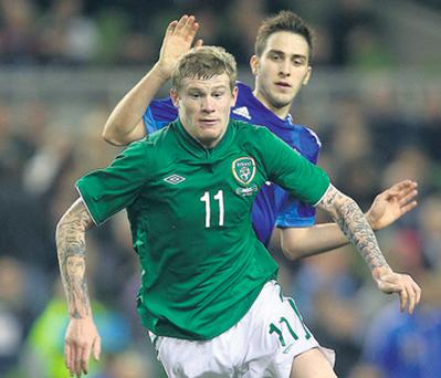 James McClean in action against Greece for Ireland.