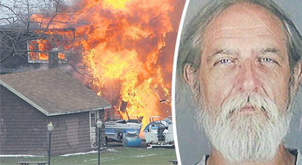 A house burns after a man set fire to it and then shot and killed two firefighters, while injuring two other firefighters in Webster, New York. The gunman, named as William Spengler (inset), then killed himself.