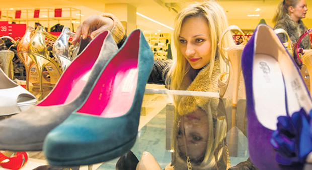 Tanya Luciove looks for a bargain in the shoes department of Arnotts on Henry Street yesterday morning.