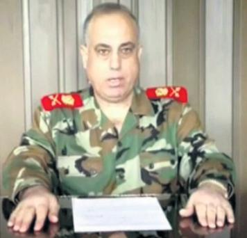 Syrian Major General Abulaziz al-Shalal announcing his defection on Al Arabiya television.