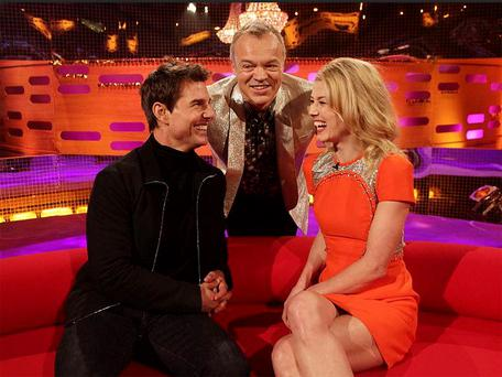 Graham Norton with guests Tom Cruise and Rosamund Pike during filming of the New Year's Eve edition of the Graham Norton show