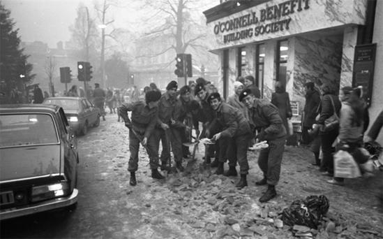 Soldiers clearing ice from Grafton Street in January 1982