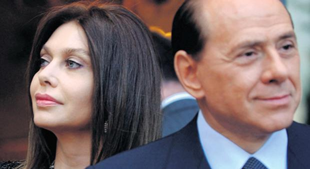 Silvio Berlusconi with his former wife Veronica Lario in 2004, and, inset, with new love Fancesca Pascale.