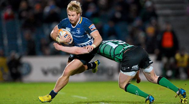 Leinster's Fionn Carr is tackled by Connacht's Eoin Griffin during their Rabo Direct Pro 12 encounter at the RDS.