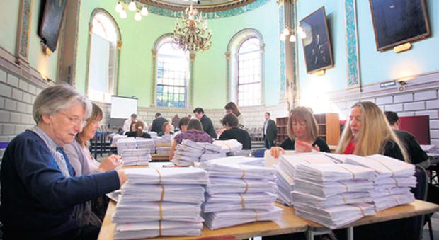 Sorting out the ballot papers for the Dublin University constituency in the Seanad elections held in Trinity College. Trinity and NUI graduates can vote in Seanad elections but students from DCU, the University of Limerick and the Institutes of Technology are barred