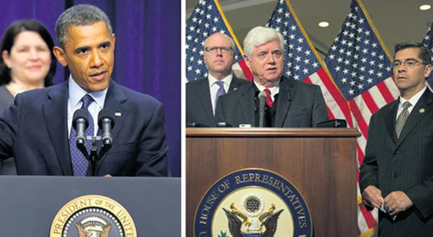 President Barack Obama speaking about the 'fiscal cliff' negotiations at a White House press conference yesterday and, right, caucus chairman John Larson and fellow Democrat Xavier Becerra speaking at another press conference after a caucus meeting at the US Capitol in Washington.
