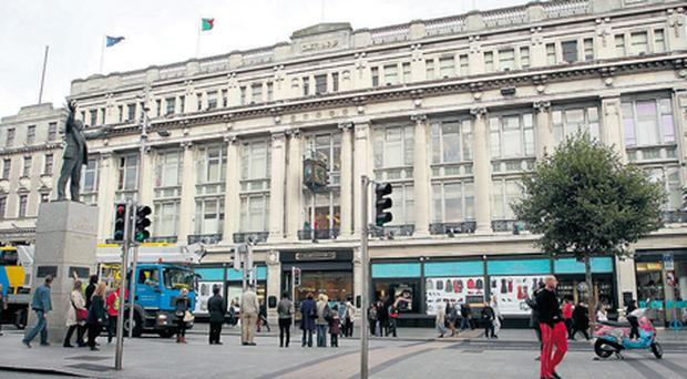 The retail sector accounted for 13pc of all insolvencies during 2012, with several high profile names including Clerys department stores (pictured) going into receivership. It was sold to an American private equity group Gordon Brothers just hours later.