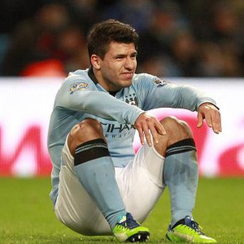 Manchester City's Sergio Aguero was forced off moments after scoring against Stoke