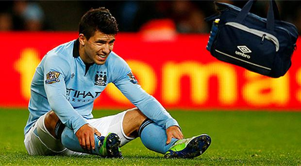 Sergio Aguero picked up an injury in Manchester City's win over Stoke