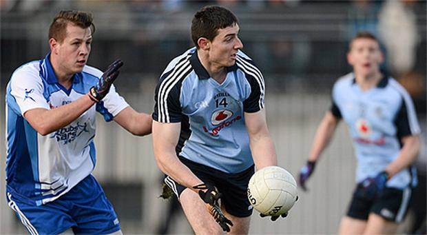 Robert McCarthy in action against Elliot Reilly, Dublin Blue Stars,.during the annual challenge match at St Peregrine's Club