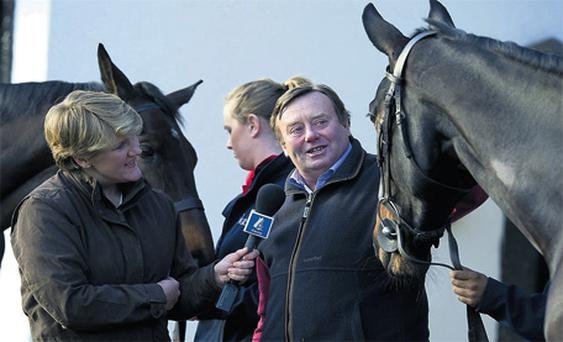Clare Balding interviews Nicky Henderson as part of the first day's coverage from Channel 4's new-look racing team