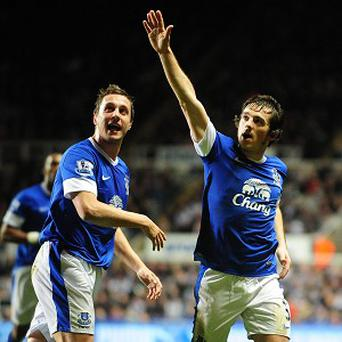 Leighton baines, right, fired in Everton's equaliser from distance