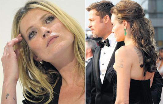 Celebrity ink: Angelina Jolie (right) is a fan of tattoos. Left: Kate Moss has a £1m bird tattoo