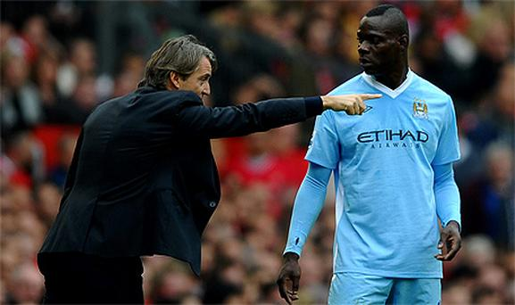 Mario Balotelli and Manchester City manager Roberto Mancini clashed during training